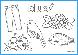 Blue Coloring Worksheet | Maple Leaf Learning Library