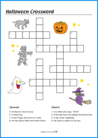 picture about Halloween Crossword Puzzles Printable named Halloween Crossword Worksheet Maple Leaf Finding out Library