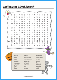 Halloween Word Search Worksheet (Hard)
