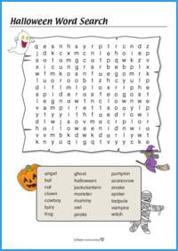 Halloween Word Search Worksheet (Hard)