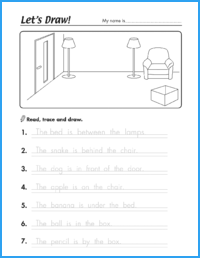 Let's Draw! Prepositions Worksheet