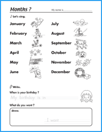 Months Birthday Worksheet