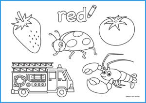 Red Coloring Worksheet