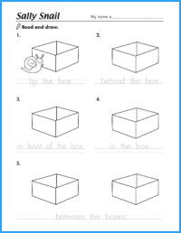 Sally Snail Prepositions Worksheet