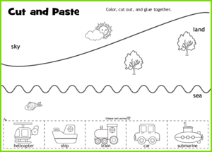 Cut and Paste Vehicles Activity