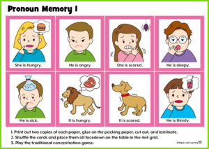 Pronoun Memory Game