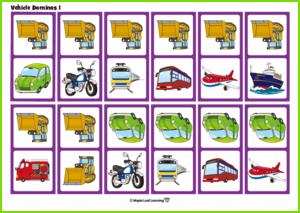 Vehicle Dominoes Game