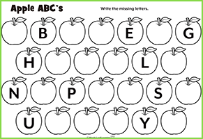 Apple ABC's Worksheet