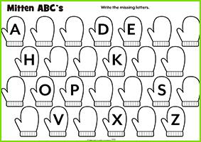 Mitten ABC's Worksheet