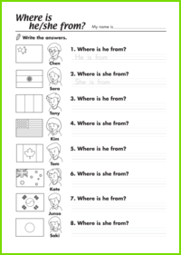 Where Is He/She from? Worksheet